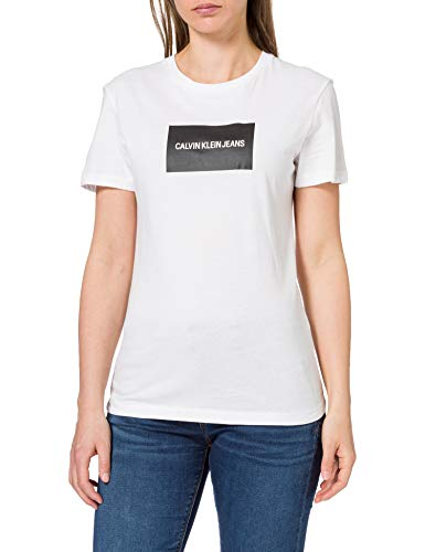 Calvin Klein Institutional Box Slim Fit Tee T-Shirt, Bright White/CK Black, Medium Donna