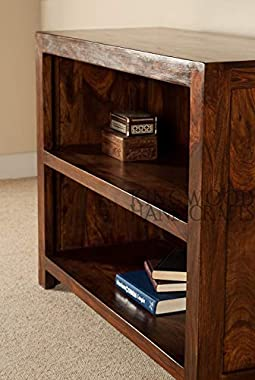 Kingwood Furniture Lyon Compact Design Book Shelf for Living Room & Study Room in Sheesham Wood with Honey Finish