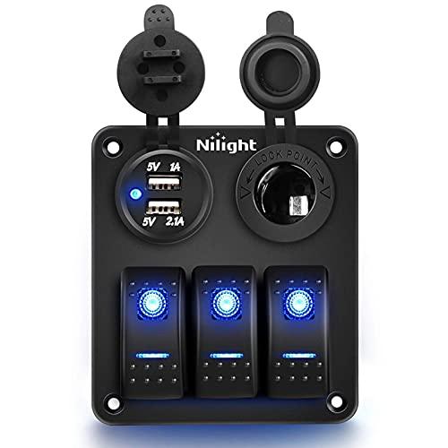 Nuevo Mei 3 Gang Led Dual USB Rvs Camiones Metal Coche Multifuncional Con Etiqueta Azul Rocker Interruptor Panel Impermeable Cargador Enchufe Instalación Simple Y El Modelo Es Adecuado