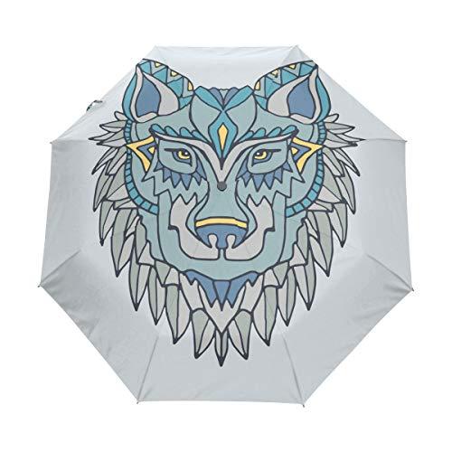 DEZIRO Bijzondere Wolf Schilderij drievoudig Outdoor?Paraplu?auto open Waterdicht