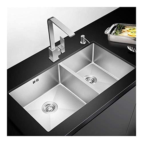 BDD Becken 2 Schüssel 60/40 Küchenspüle Gebürsteter Edelstahl 710 Mm X 430 Mm, Unterbau- Oder Unterputz-Ausziehhahnsatz Mp131