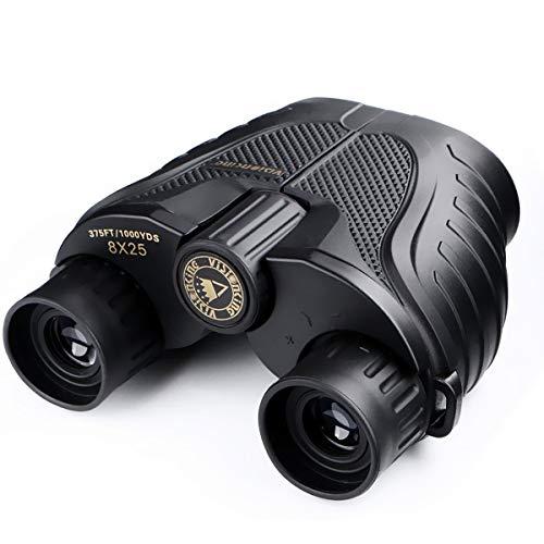 Prismáticos Binoculares, SGODDE Impermeables al Aire Libre Powerview Compacto Foco Fácil con el Caso para el Senderismo al Aire Libre, Tirando, Viajando, Observación de Pájaros (8 x 25)