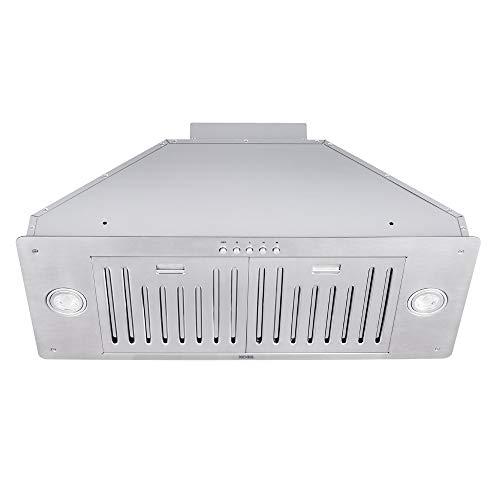 KOBE INX2730SQB-700-2 Brillia 30-inch Built-in/ Insert Range Hood, 3-Speed, 550 CFM, LED Lights, Baffle Filters
