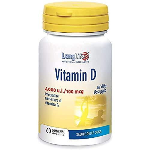 Vitamin D 4000 LongLife | Integratore Vitamina D3 naturale | Alto dosaggio | 60 cpr | Sistema Immunitario, salute delle ossa | Doping Free, Gluten Free & Vegetarian