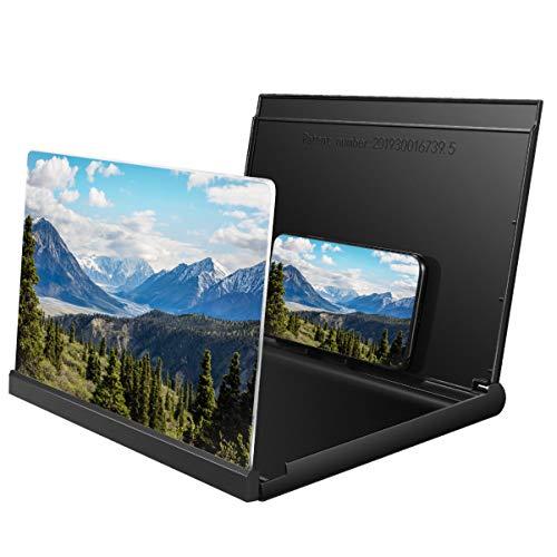 NICERIO 3D Universal Bildschirmlupe,Faltbare 12 Zoll HD Smartphone Bildschirm Verstärker mit Handy Saugnapf zum Ansehen von Videofilmen,kompatibel für Huawei/iPhone/Samsung/,alle Smartphones(Schwarz)