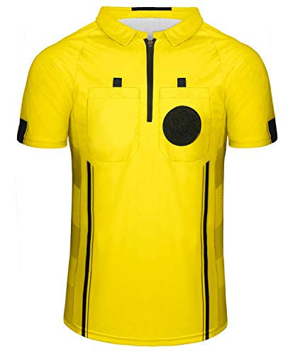 Yuar butee Men's Official Referee/Umpire Jersey – Pro-Style Ref Uniform, Great for Basketball, Football, Soccer Yellow XL
