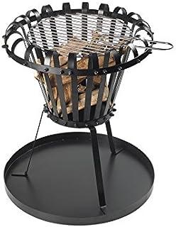 Feuerstelle für Garten und Terrasse aus Gusseisen - Feuerschale mit Grillrost schwarz - Gartenkamin rund - Dreibein-Terrassenofen mit Grill & Ascheschalepulverbeschichtet - 53 x 5 x 52,5 cm