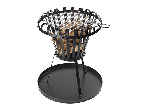 Fire pit for garden and terrace made of cast iron, fire bowl with grill grate, black, garden fireplace, round, three-legged patio oven with grill and ash tray powder coated, 53 x 5 x 52.5 cm