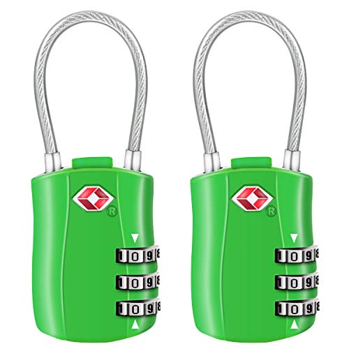 Luggage Padlocks, [New Version] Diyife 2 X TSA 3-Digit Security Padlock, Combination Padlocks for Luggage Travel Backpack Luggage (Green)