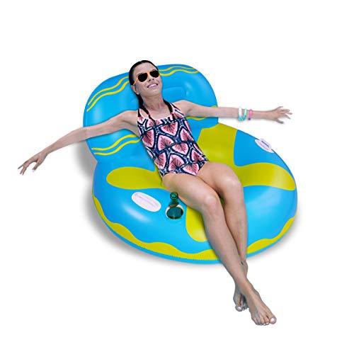 SUNSHINE-MALL Flotador de piscina hinchable, flotador de lago, hinchable, silla flotante de sofá de aire, ideal para adultos y niños para fiestas acuáticas (Sofa-Blue)