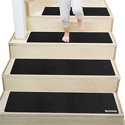 NEWOSTER Anti-Rutsch-Treppen-Teppich/Treppenmatten, 76,2 x 20,3 cm, rutschfest, für den Innenbereich, Selbstklebende Teppiche, Treppe, rutschfest, für Kinder und Haustiere (schwarz, 14 Stück)