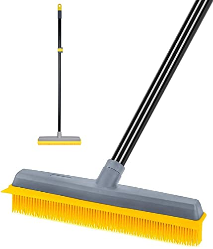 """Pet Hair Broom Rubber Broom [Upgrade Extension Pole 59""""] Fur Remover Broom Carpet Rake with Build-in Squeegee Silicone Broom for Sweeping Hardwood Floor Tile"""