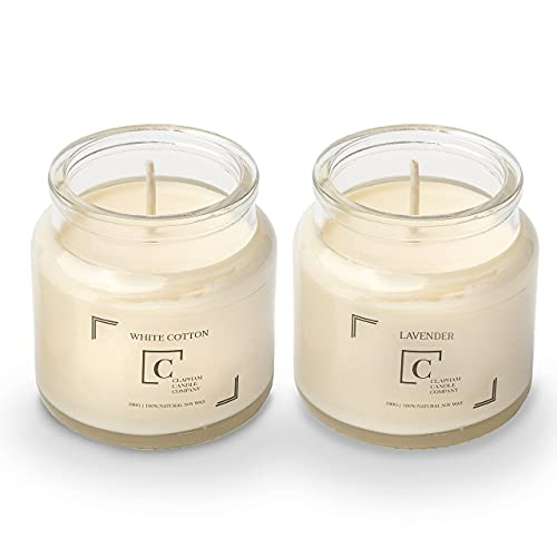 Clapham Candle Co, Scented Candle Set | White Cotton & Lavender | Burn Time: Up to 50 Hours