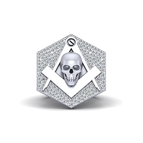 Anillo de boda de cráneo masónico con forma de cráneo de diamante cuadrado brújula Mason cráneo anillo sólido de oro blanco