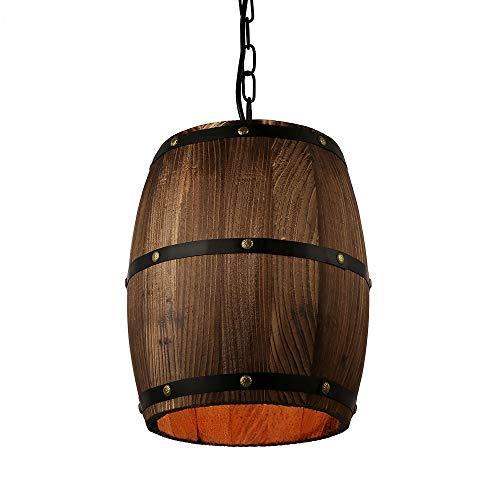 American Country loft Wood Wine Barrel Lámpara colgante de techo Lámpara colgante E27 Luz para bar Café Salón Comedor Restaurante