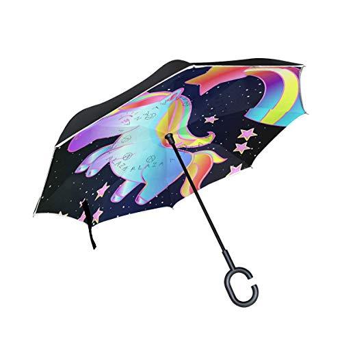Ronde tafel voor regenbuien, windbestendig, eenhoorn met regenboog met greep in C-vorm, omgekeerd, dubbellaags