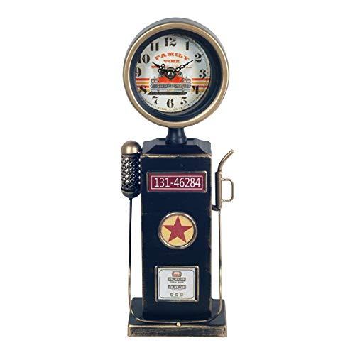 CAPRILO. Reloj de Mesa Decorativo Retro de Metal Surtidor Gasolina. Adornos y Figuras. Decoración Hogar. Menaje. Muebles Auxiliares. Regalos Originales. 12,50 x 8,50 x 36,50 cm.
