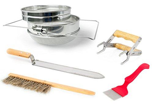 VIVO Honey Harvesting Beekeeping Starter Tool Kit, Set of 5, Double Sieve Honey Strainer, Frame Holder, Brush, Uncapping Knife, Uncapping Fork BEE-KIT4