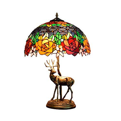 DIMPLEYA Rose Tiffany Lampe European Style Vidrio Lámpara de Vidrio Pintura de Vidrio Pantalla de luz de iluminación mediterránea para la Sala de Estar de la Novia