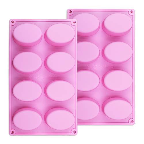 8 Hohlraum Silikonform für handgemachte Seife, Schokolade, Eiswürfel, Jelly Oval Ei Design Set von 2