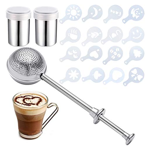3 Pcs Powdered Sugar Shaker Duster, 2 Stainless Steel Sifter Dusting Wand with 1 Sugar Dispenser and 16 Coffee Stencils, Flour Sifter for Baking, Powder Duster, Cinnamon Wand for Powder Sugar Flour
