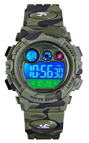 Tonnier Watch Kids Sports Watch Multi Function Digital Watches Colorful LED Display Waterproof Wristwatches for Children with PU Band Green