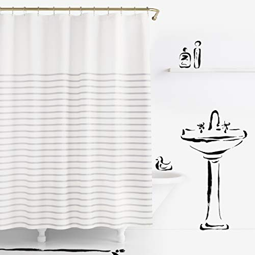 "Kate Spade New York Harbour Stripe Shower Curtain, 72"", Platinum"