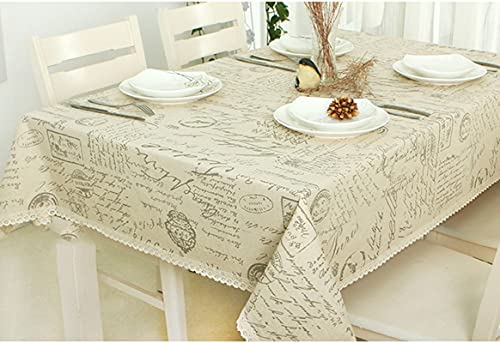 Aooaz Manteles Rusticos, Tela Impermeable Sabana de Algodon 140X250cm Beige Letras con Encaje