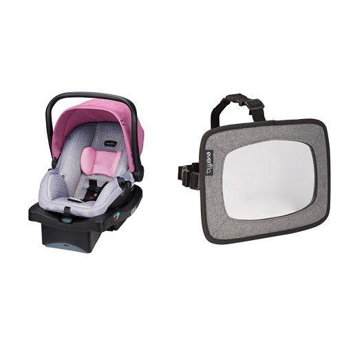 Evenflo LiteMax 35 Infant Car Seat, Azalea with Backseat Baby Mirror for Rear Facing Child, Grey Melange
