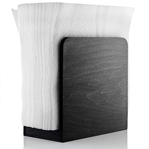 Rustikaler Serviettenhalter – schwarz Holz Serviettenhalter für Tische – Küche Serviettenspender – Küchenzubehör – Restaurant Decor – Bar Zubehör und Dekor