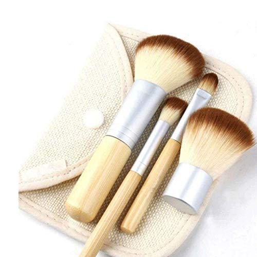 FOLVXY Maquillage Bambou Naturel Brosses Professionnel 4pcs Pinceaux Miel Poudre Correcteur Fard à paupières Fard à Joues Brosse avec Linge Sac cosmétique