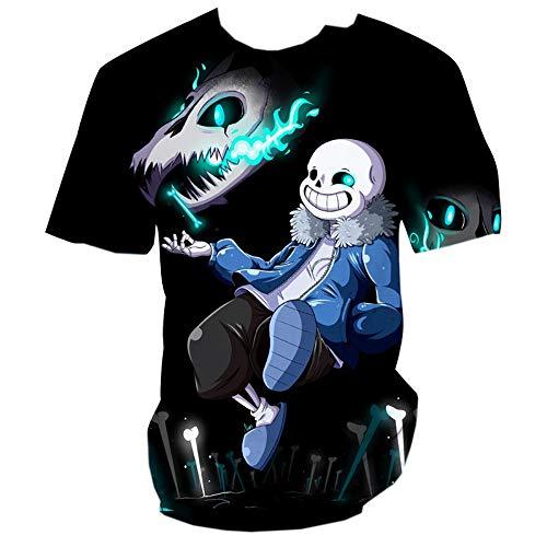 Undertale Camiseta Animado Color 3D Impresión Ocio Camiseta Cuello Redondo Manga Corta Top cómodo Unisex (Color : A07, Size : Height-185cm(Tag XXL))