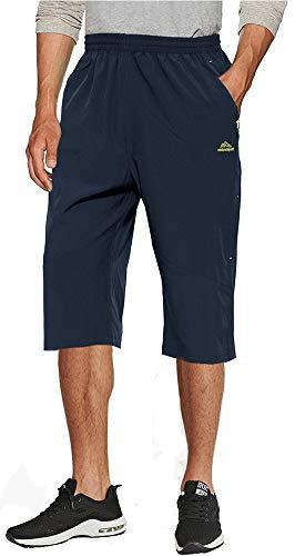 TACVASEN Cargo Shorts Herren Outdoor Lange Shorts Sommer Militär Taktische Shorts 3/4 Capri Combat Shorts schnell trocknende Herren Wanderhose kurz Navy blau