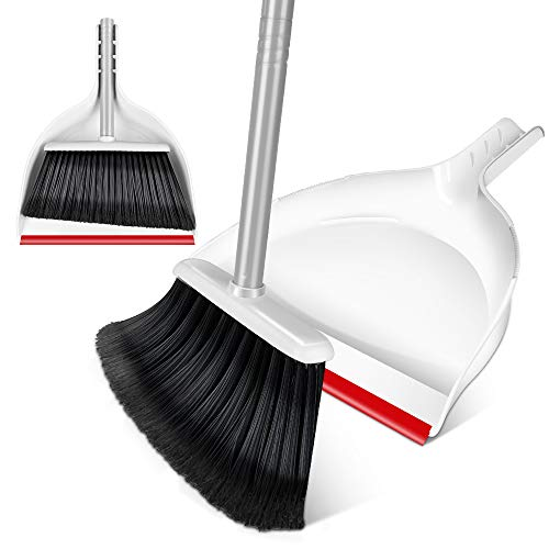 "Broom and Dustpan Set - Angle Broom with Handy Clip-on Dustpan , Light Broom with 51"" Long Extendable Handle for Desk,Floor,Garage and Kitchen Red White"