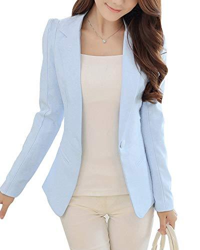 Quge Donna Blazer Ufficio Tailleur Elegante Coat Jacket Giacca Outwear Tailleur Giacca Azzurro M