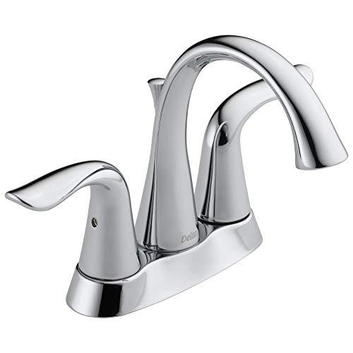 DELTA Lahara Centerset Bathroom Faucet Chrome, Bathroom Sink Faucet, Diamond Seal Technology, Metal Drain Assembly, Chrome 2538-MPU-DST