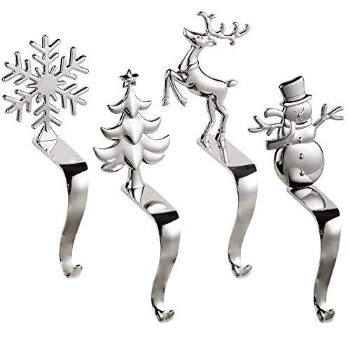 HelaJoy Weihnachtsstrumpf Halter für Kamin - Silber Weihnachtsstrumpf Kleiderbügel rutschfeste Weihnachtsstrumpf Haken 4er-Set, Weihnachten Haken Weihnachtsdekoration für Kamin, Regal, Treppen