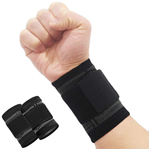 2 Pack Wrist Brace Carpal Tunnel, Wrist Wraps Compression Wrist Strap, Support for Work Fitness Weightlifting Sprains Tendonitis Pain Relief (Black, L)