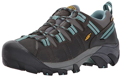 KEEN Women's Targhee 2 Low Height Waterproof Hiking Shoe, Black Olive/Mineral Blue, 8 M (Medium) US