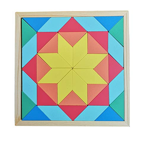 B&Julian® Holz Tangram Tetris Kinder Legespiel Steckspiel Brettspiel Puzzle mit Geometrische Formen in Box 3D Effekt Lernspiele Knobelspiele 40 TLG.