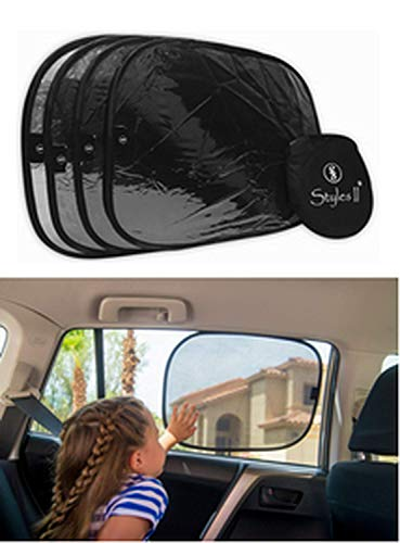 """Styles II Car Window Sun Shade (4 Pack) 19""""x14"""" Cling Sunshade for Car Windows - Sun, Glare and UV Rays - 80 GSM Maximum Protection for Your Child - Baby Side Window Car Shades"""
