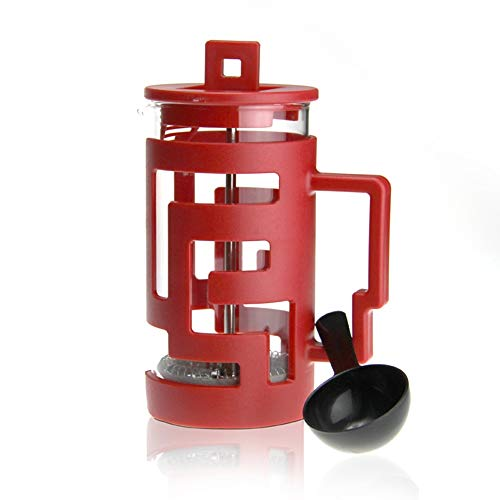 SongMyao Kaffeepressen Glass Press Pot Edelstahl Filter Tee-Maschine Kaffee Fro Home Küche Büro Filterpressekanne (Color : Red, Size : 300ml)