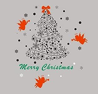 ONETOTOP Árbol de Navidad Tatuajes de Pared Feliz árbol de Navidad Ángeles Arte Mural Etiqueta de la Pared Tienda de Ropa Cafetería Ventana de Cristal Decoration111 * 98 cm