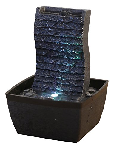 Zen'Light ONDULO Fontaine d'Intérieur, Polyrésine, Noir, 13 x 12 x 19 cm