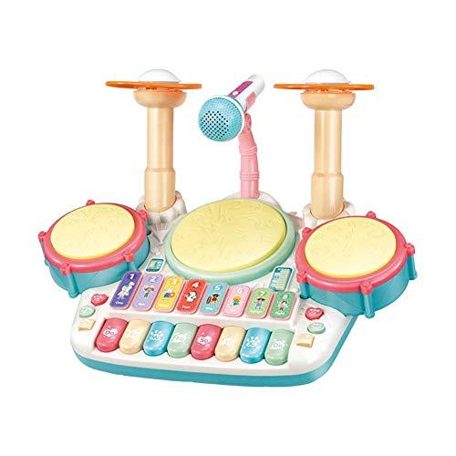 FXQIN 3 en 1 Juguetes Musicales Batería de Jazz para niños, Instrumentos de percusión para niños batería Junior Instrumento con Luces Juguetes de Desarrollo de Aprendizaje