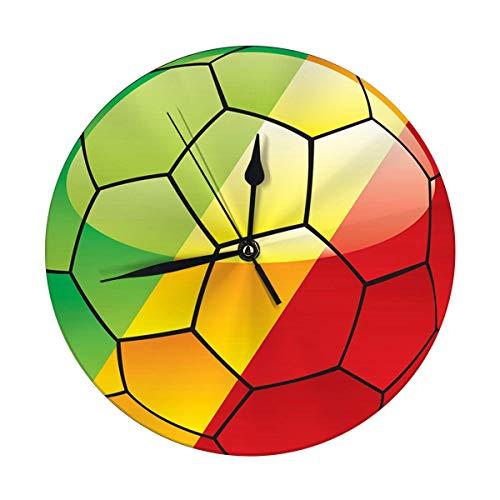 FETEAM Reloj de Pared Redondo con Bandera de Congo en balón de fútbol Decorativo para hogar, Oficina, Escuela