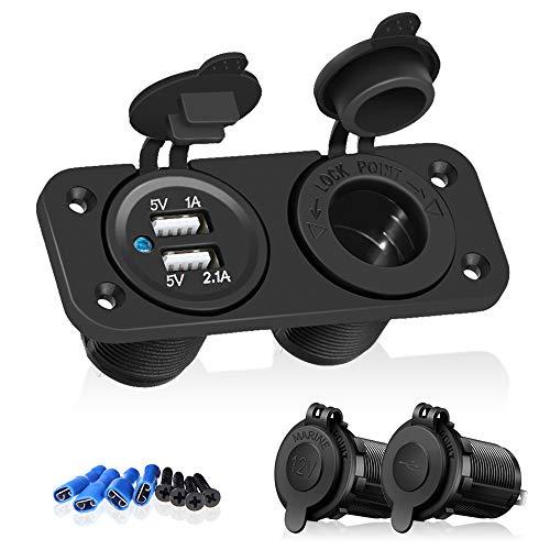 ISWEES Universal Adaptador Enchufe 12V-24V Mechero Toma Puerto USB Dual para Móviles GPS Coche Bote Auto