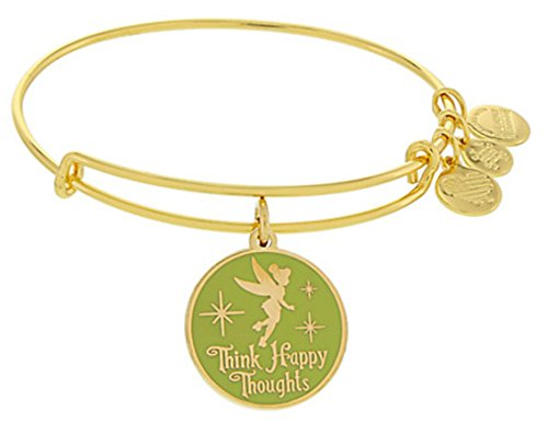 Alex and Ani Disney Parks Tinker Bell Fairy Green Enamel Think Happy Thoughts (Rafaelian Gold)