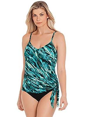 Magicsuit Women's Swimwear Aquarius Alex Draped Tie Front Tankini Bathing Suit Top, Black/Multi, 08