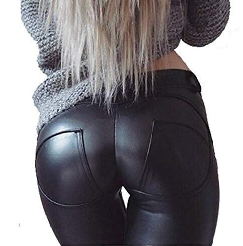 Uni-Wert Damen Lederhose Stretch Skinny Leggings High Waist Schwarz Kunstleder Hose, Schwarz, EU 44/(Asian 3XL)